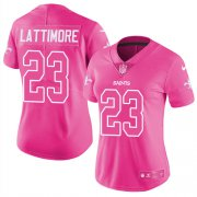 Wholesale Cheap Nike Saints #23 Marshon Lattimore Pink Women's Stitched NFL Limited Rush Fashion Jersey