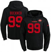 Wholesale Cheap Nike 49ers #99 DeForest Buckner Black Name & Number Pullover NFL Hoodie