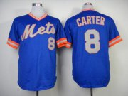 Wholesale Cheap Mitchell And Ness 1983 Mets #8 Gary Carter Blue Throwback Stitched MLB Jersey