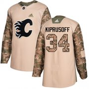 Wholesale Cheap Adidas Flames #34 Miikka Kiprusoff Camo Authentic 2017 Veterans Day Stitched NHL Jersey