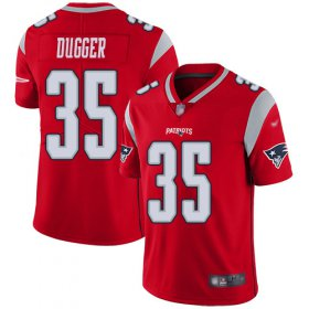 Wholesale Cheap Nike Patriots #35 Kyle Dugger Red Men\'s Stitched NFL Limited Inverted Legend Jersey
