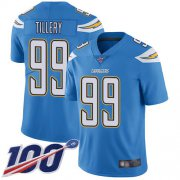 Wholesale Cheap Nike Chargers #99 Jerry Tillery Electric Blue Alternate Men's Stitched NFL 100th Season Vapor Limited Jersey