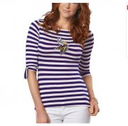 Wholesale Cheap Minnesota Vikings Lady Striped Boatneck Three-Quarter Sleeve T-Shirt