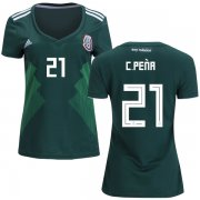 Wholesale Cheap Women's Mexico #21 C.Pena Home Soccer Country Jersey