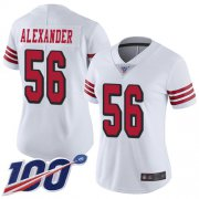 Wholesale Cheap Nike 49ers #56 Kwon Alexander White Rush Women's Stitched NFL Limited 100th Season Jersey
