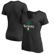 Wholesale Cheap Milwaukee Brewers Majestic Women's Forever Lucky V-Neck T-Shirt Black