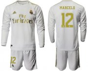 Wholesale Cheap Real Madrid #12 Marcelo White Home Long Sleeves Soccer Club Jersey