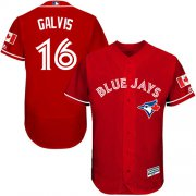 Wholesale Cheap Blue Jays #16 Freddy Galvis Red Flexbase Authentic Collection Canada Day Stitched MLB Jersey