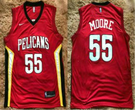 Wholesale Cheap Men\'s New Orleans Pelicans #55 E\'Twaun Moore New Red 2017-2018 Nike Swingman Stitched NBA Jersey