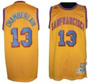 Wholesale Cheap San Francisco Warriors #13 Wilt Chamberlain ABA Hardwood Classic Swingman Yellow Jersey