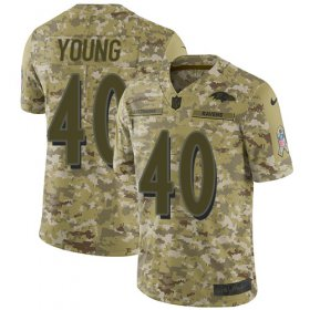 Wholesale Cheap Nike Ravens #40 Kenny Young Camo Men\'s Stitched NFL Limited 2018 Salute To Service Jersey