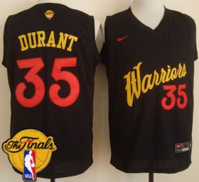 Wholesale Cheap Mens\'s Warriors #35 Kevin Durant Black Fashion 2017 The Finals Patch Stitched NBA Jersey