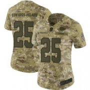 Wholesale Cheap Women's Nike Kansas City Chiefs #25 Clyde Edwards-Helaire Limited Camo 2018 Salute to Service Jersey