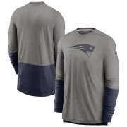 Wholesale Cheap New England Patriots Nike Sideline Player Performance Long Sleeve T-Shirt Heathered Gray Navy