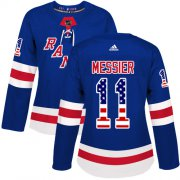 Wholesale Cheap Adidas Rangers #11 Mark Messier Royal Blue Home Authentic USA Flag Women's Stitched NHL Jersey
