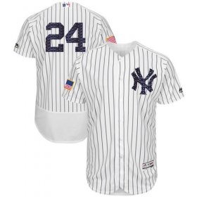 Wholesale Cheap Yankees #24 Gary Sanchez White Strip Fashion Stars & Stripes Flexbase Authentic Stitched MLB Jersey