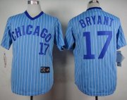 Wholesale Cheap Cubs #17 Kris Bryant Blue(White Strip) Cooperstown Throwback Stitched MLB Jersey