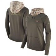 Wholesale Cheap Women's Atlanta Falcons Nike Olive Salute to Service Performance Pullover Hoodie