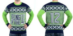Wholesale Cheap Nike Seahawks #12 Fan Men\'s Ugly Sweater
