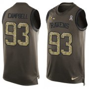 Wholesale Cheap Nike Ravens #93 Calais Campbell Green Men's Stitched NFL Limited Salute To Service Tank Top Jersey