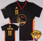 Wholesale Cheap Men's Golden State Warriors #11 Klay Thompson Chinese Black Fashion 2016 The NBA Finals Patch Jersey