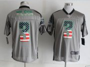 Wholesale Cheap Nike Seahawks #3 Russell Wilson Grey Men's Stitched NFL Elite USA Flag Fashion Jersey