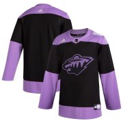 Wholesale Cheap Minnesota Wild Adidas Hockey Fights Cancer Practice Jersey Black