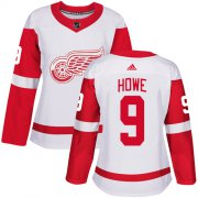 Wholesale Cheap Adidas Red Wings #9 Gordie Howe White Road Authentic Women's Stitched NHL Jersey