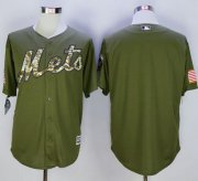 Wholesale Cheap Mets Blank Green Camo New Cool Base Stitched MLB Jersey
