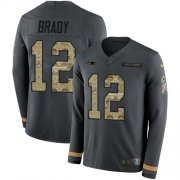 Wholesale Cheap Nike Patriots #12 Tom Brady Anthracite Salute to Service Men's Stitched NFL Limited Therma Long Sleeve Jersey