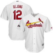 Wholesale Cheap St. Louis Cardinals #12 Paul DeJong Majestic 2019 Postseason Official Cool Base Player Jersey White