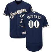 Wholesale Cheap Milwaukee Brewers Majestic Alternate Home Flex Base Authentic Collection Custom Jersey Navy