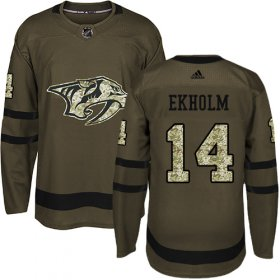 Wholesale Cheap Adidas Predators #14 Mattias Ekholm Green Salute to Service Stitched Youth NHL Jersey