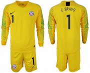 Wholesale Cheap Chile #1 C.Bravo Yellow Goalkeeper Long Sleeves Soccer Country Jersey