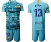 Wholesale Cheap Barcelona #13 Neto Light Blue Goalkeeper Soccer Club Jersey