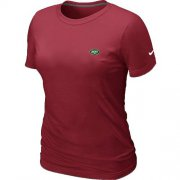 Wholesale Cheap Women's Nike New York Jets Chest Embroidered Logo T-Shirt Red