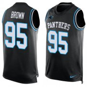 Wholesale Cheap Nike Panthers #95 Derrick Brown Black Team Color Men's Stitched NFL Limited Tank Top Jersey