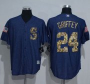 Wholesale Cheap Mariners #24 Ken Griffey Denim Blue Salute to Service Stitched MLB Jersey