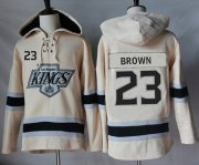 Wholesale Cheap Kings #23 Dustin Brown Cream Sawyer Hooded Sweatshirt Stitched NHL Jersey