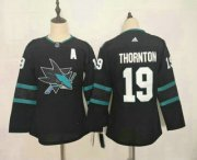 Wholesale Cheap Youth San Jose Sharks #19 Joe Thornton NEW Black Adidas Stitched NHL Jersey