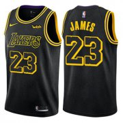 Cheap Youth Nike Los Angeles Lakers #23 LeBron James Black NBA Swingman City Edition Jersey