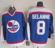 Wholesale Cheap Jets #8 Teemu Selanne Blue/White CCM Throwback Stitched NHL Jersey