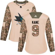 Wholesale Cheap Adidas Sharks #9 Evander Kane Camo Authentic 2017 Veterans Day Women's Stitched NHL Jersey