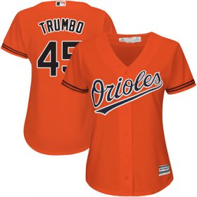 Wholesale Cheap Orioles #45 Mark Trumbo Orange Alternate Women\'s Stitched MLB Jersey