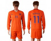 Wholesale Cheap Holland #11 Robben Home Long Sleeves Soccer Country Jersey