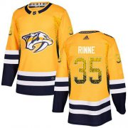 Wholesale Cheap Adidas Predators #35 Pekka Rinne Yellow Home Authentic Drift Fashion Stitched NHL Jersey