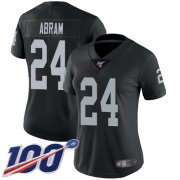 Wholesale Cheap Nike Raiders #24 Johnathan Abram Black Team Color Women's Stitched NFL 100th Season Vapor Limited Jersey