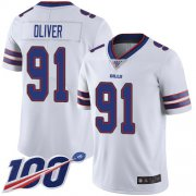 Wholesale Cheap Nike Bills #91 Ed Oliver White Men's Stitched NFL 100th Season Vapor Limited Jersey