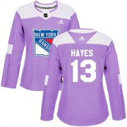Wholesale Cheap Adidas Rangers #13 Kevin Hayes Purple Authentic Fights Cancer Women's Stitched NHL Jersey