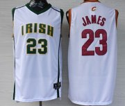 Wholesale Cheap Cleveland Cavaliers&The Fighting Irish #23 LeBron James Revolution 30 Swingman White Jersey
